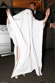 ghost costumes sheet lady gaga wears table cloth over her head for makeshift halloween