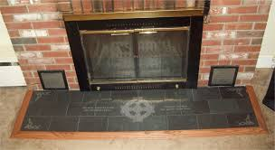 custom made engraved slate fireplace hearth with celtic and english translations