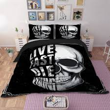 skull bedding set single double queen king twin full queen king size black white duvet cover