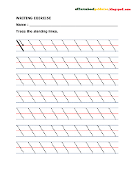 Printable Writing Lines WRITING EXERCISE Trace Lines Diagonal WRITING EXERCISES Trace The 8
