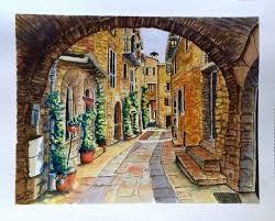 italian street scene sold richard benson s watercolors