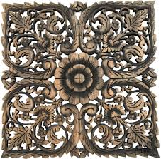 Square Metal Wall Decor Asian Home Decorlarge Square Floral Wood Wall Hangingrustic Wood