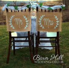 wedding chair covers mr mrs chair signs mr and mrs burlap banner rustic chair banners rustic wedding shabby chic