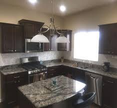 Quartz Countertops And Backsplash Modern Kitchen Dark Cabinets Dark