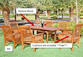 wood patio furniture with cushions. Wonderful Wood Wood Patio Furniture Outdoor 7PC Dining Set Table Chairs Cushions Sunroom  Sale On With P