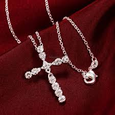 women 925 sterling silver plated crystal cross pendant necklace chain c5