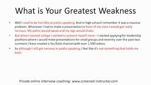 Interview Sample Answer What Is Your Greatest Weakness Youtube