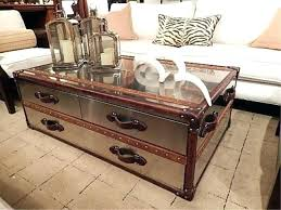 steamer trunk coffee table brilliant leather for home interior ideas with drawe