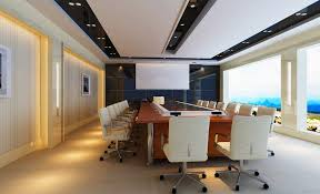 good looking modern conference room design showing modern conference tables and white swivel chairs also recessed ceiling lamp plus clear glass window