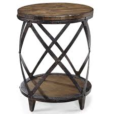 rustic furniture design round end table with shelf unique metal wooden combo base round wooden end