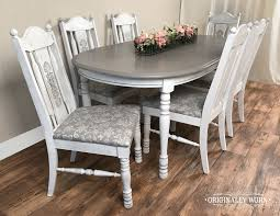 7 Piece Oval Dining Set In Annie Sloan Chalk Paint In Pure White And