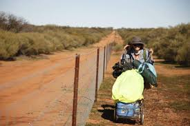 w retraces steps of three aboriginal girls who walked along  a photo of lindsey cole who walked along the rabbit proof fence