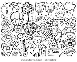 Small Picture Doodles Cute Elements Black Vector Items Stock Vector 559947679