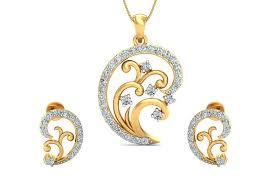 nawra diamond pendant earring set