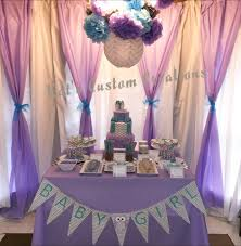 Lavender Baby Shower Decorations Owl Lavender Turquoise Gray Chevron Baby Shower Backdrop And