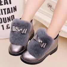 girls kids short boots children fur bowknot rubber boots warm autumn winter casual shoes for female size 27 37 gray black leather shoes toddler