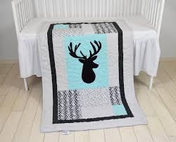 deer crib bedding triangle quilt mint gray black cross baby blanket deer head blanke hunting blanket antler blanket