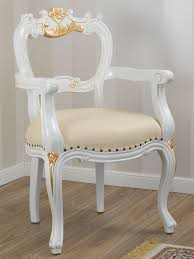 Details Zu Esszimmerstuhl Mit Armlehnen Holly Barock Stil Decape Stuhl Elfenbein Und Blattg