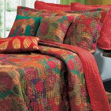superior bedding quilt set red yellow green colored combine in shades cotton queen