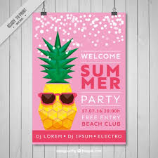 Summer Party Flyers Cool Pineapple Summer Party Flyer Vector Free Download
