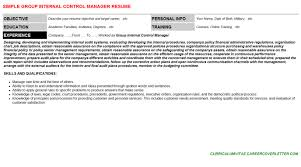 Internal Resumes Group Internal Control Manager Cover Letter Resume