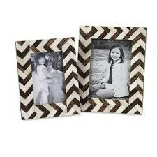 chevron 1 opening multiple sizes brown white matted picture frames set of 2