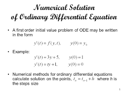 numerical solution of ordinary diffeial equation