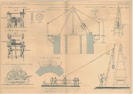 1872 antique french technical drawing winch gears capstan civil engineering 20 00 via etsy