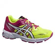 asics gel pulse 6 gs junior running shoes yellow pink eu 40 us