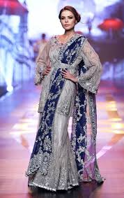 Silver Grey Bridal Dress Short Shirt Embroidered Sharara