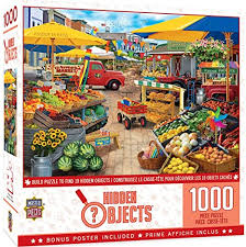 Choose the level of difficulty by changing the number of pieces. Amazon Com Masterpieces Seek Find Puzzles Collection Market Square 1000 Piece Jigsaw Puzzle Toys Games