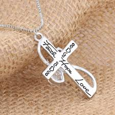letter handmade faith hope love cross double sided womens heart necklace pendant