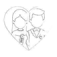 かわいいカップルがちょうど花花束ベクトル イラスト デザインと結婚して