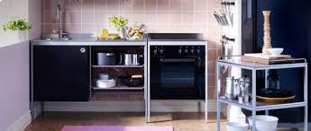 Wonderful Ikea Small Modern Kitchen Design With Black Cabinet And