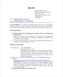 Student Resume Objectives Gorgeous Computer Science Resume Example 48 Free Word PDF Documents