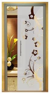 pocket glass sliding door with flowers sandblasting design 28 x80 positive
