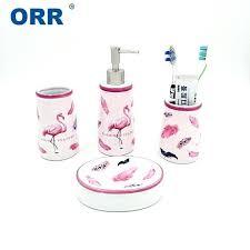 ceramic bathroom set flamingo accessories free toilet flamingo bathroom accessories set interior design for small