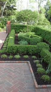 Formal English Garden - Hedges of Boxwoods and Burning bushes frame beds of  perennials, roses