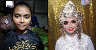 indonesian bride turns into barbie after a dramatic wedding makeup transformation