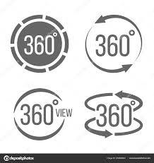 360 度のビューの創造的なベクトル イラスト関連標識セット透明な背景に