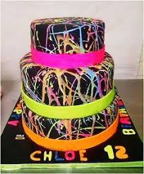 awesome birthday cakes for 11 year old girls google search 11 Year Old Cakes 3 tier glow in the dark splatter cake for a girl who loves glow in the dark things this would go with the glow in the dark themed party sleepover that cakes for 11 year old girls