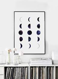 bedroom wall art phases of the moon print moon phases wall art watercolor moon