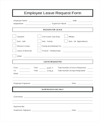 Request Forms Template Employee Leave Form Template Sick Leave Request Form Template