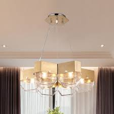 mid century modern lighting brushed steel 5 light chandelier in clear glass shade for living room