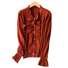 <b>2018 Autumn</b> bowknot Blet Collar Womens 30 <b>Cashmere Cardigan</b> ...