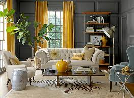 View in gallery Eclectic living room with gray walls and yellow drapes