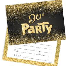 90 Birthday Party Invitations Black And Gold Effect 90th Birthday Party Invitations Ready To Write With Envelopes Pack 10