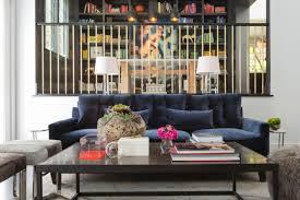 modern furniture living room blue. Fine Living Modern Sunken Living Room With Blue Velvet Sofa On Furniture L