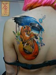 фото тату лиса в стиле акварель от мастера макс калашников