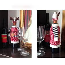 How To Decorate A Wine Bottle For Christmas Christmas Elk Red Wine Bottle Cover Bag Dinner Table Decoration 96